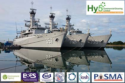 Hy5 cleaning 3 large war ships in Barrow in Furness