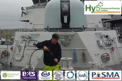 Hy5 cleaning a huge war ship in Barrow in Furness
